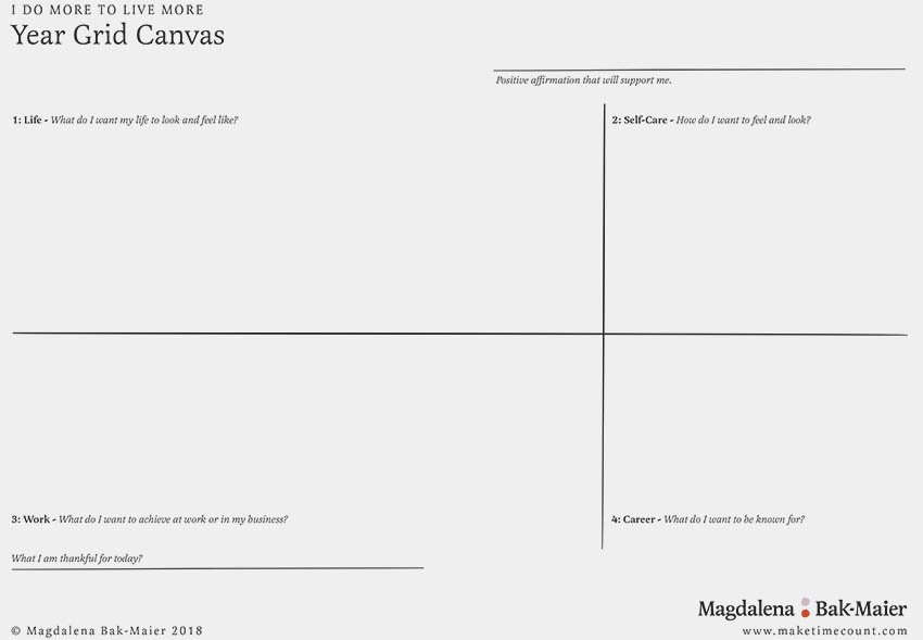 FREE Year Grid Canvas for increased productivity and wellbeing