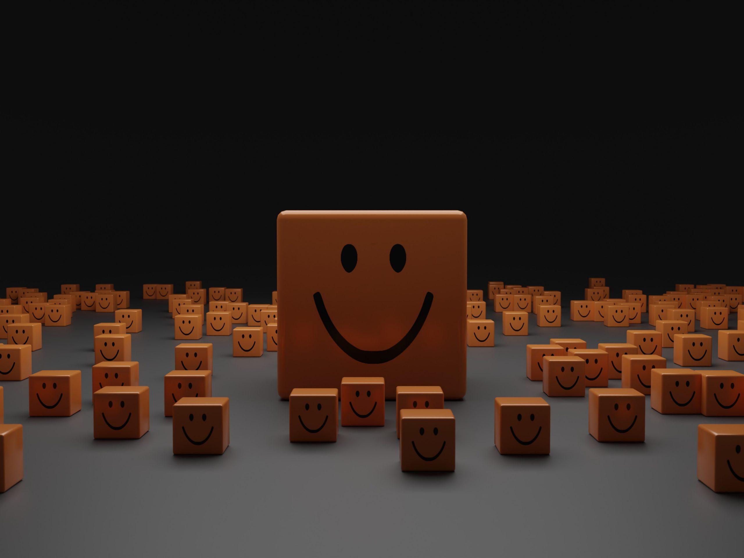 blocks of wood smiling